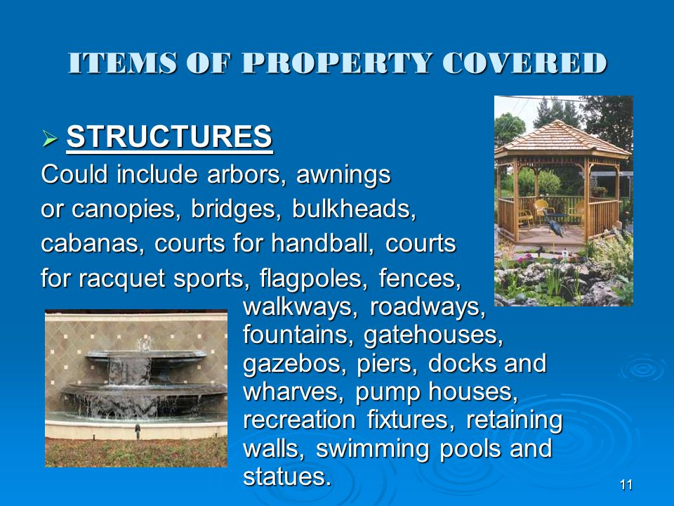 ITEMS OF PROPERTY COVERED