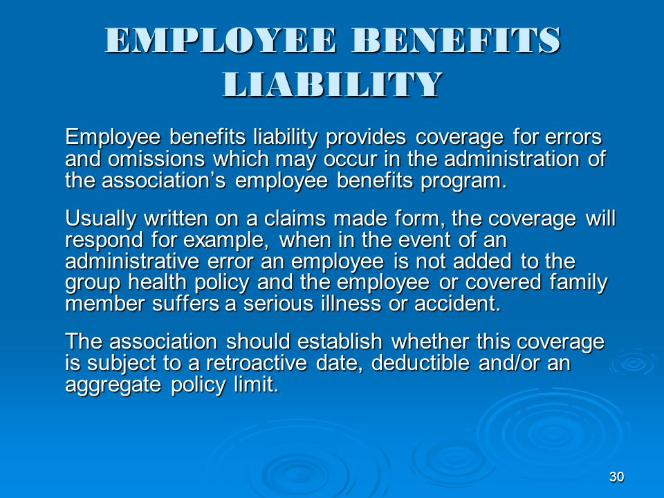 EMPLOYEE BENEFITS LIABILITY