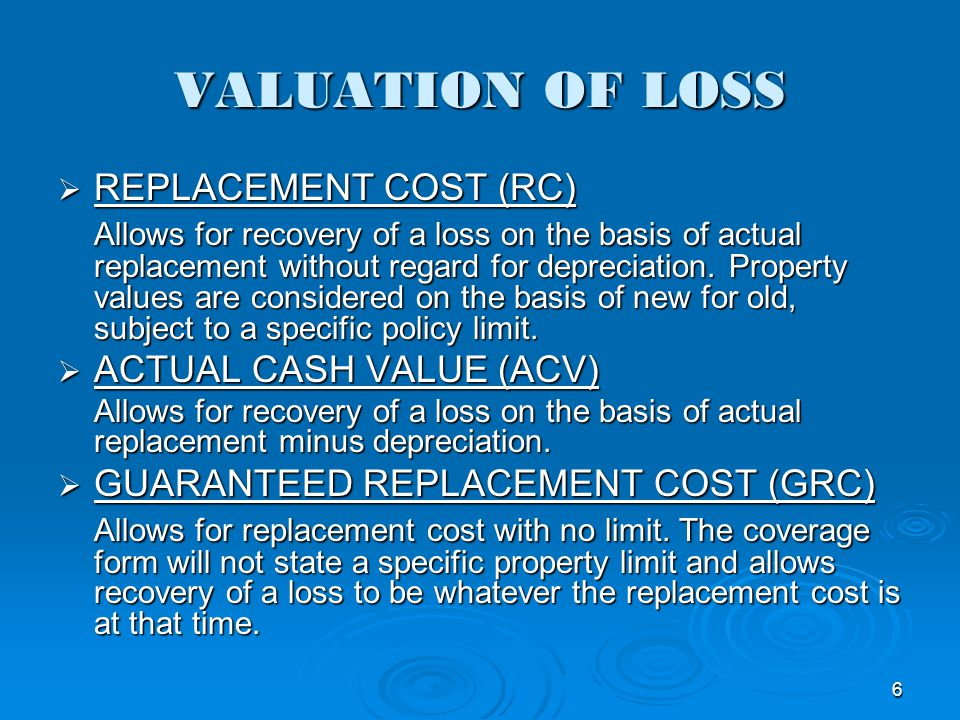 VALUATION OF LOSS REPLACEMENT COST (RC)