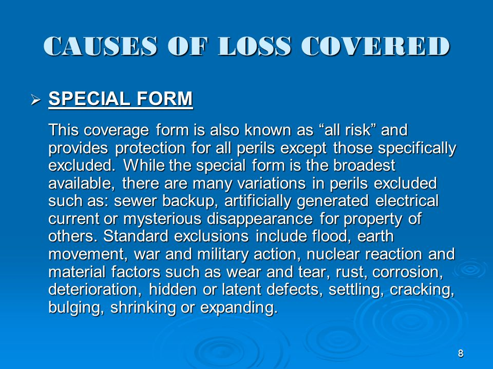 CAUSES OF LOSS COVERED SPECIAL FORM