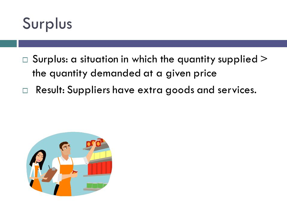 Surplus Surplus: a situation in which the quantity supplied > the quantity demanded at a given price.