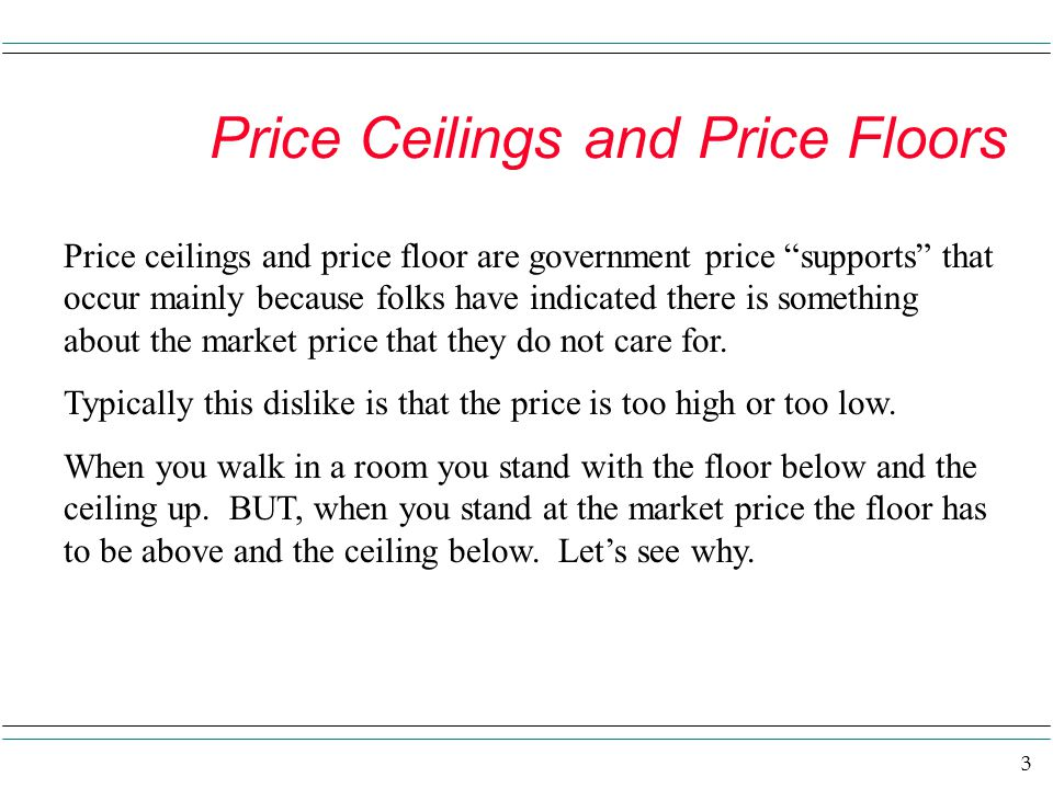 Price Ceilings and Price Floors