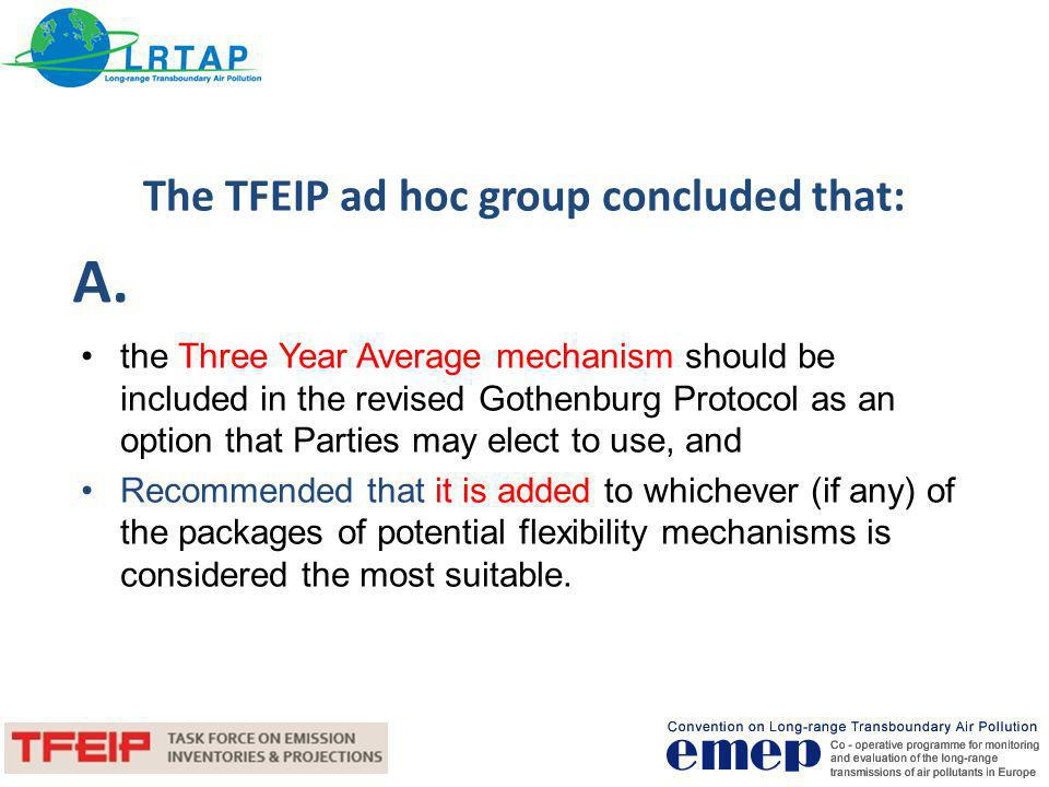 The TFEIP ad hoc group concluded that: