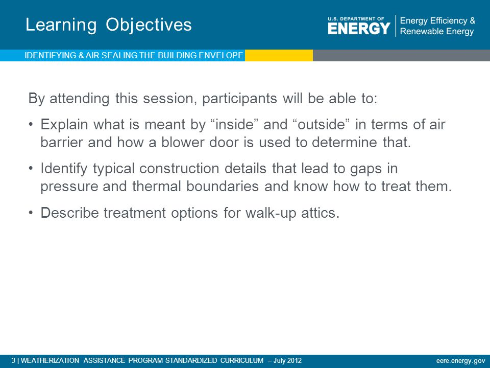 Learning Objectives IDENTIFYING & AIR SEALING THE BUILDING ENVELOPE. By attending this session, participants will be able to: