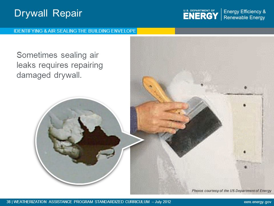 Drywall Repair IDENTIFYING & AIR SEALING THE BUILDING ENVELOPE. Sometimes sealing air leaks requires repairing damaged drywall.