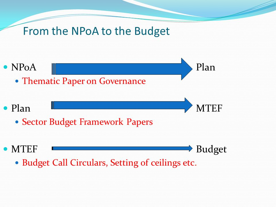 From the NPoA to the Budget