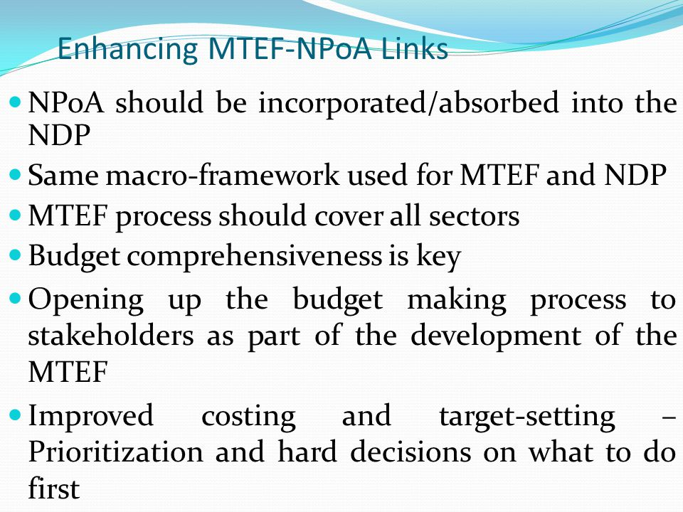 Enhancing MTEF-NPoA Links