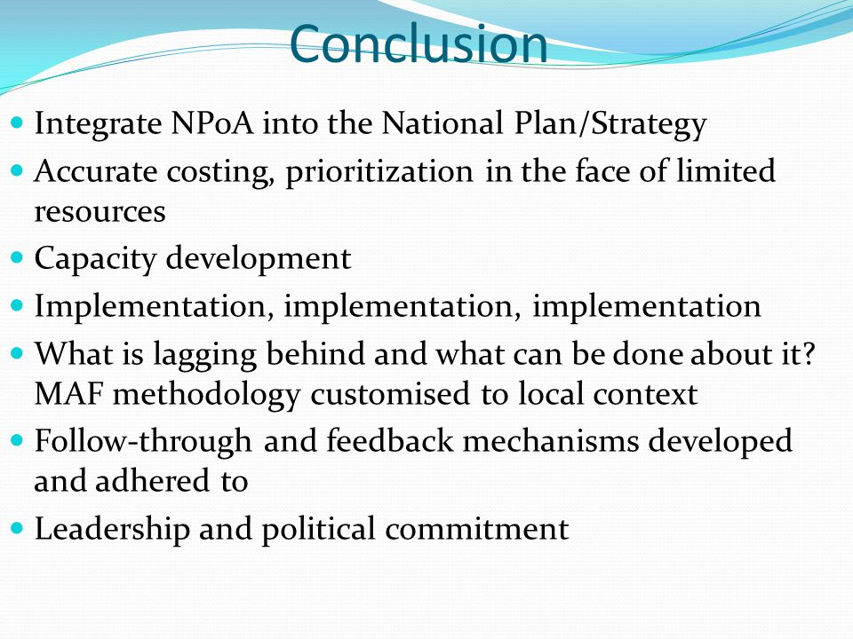 Conclusion Integrate NPoA into the National Plan/Strategy