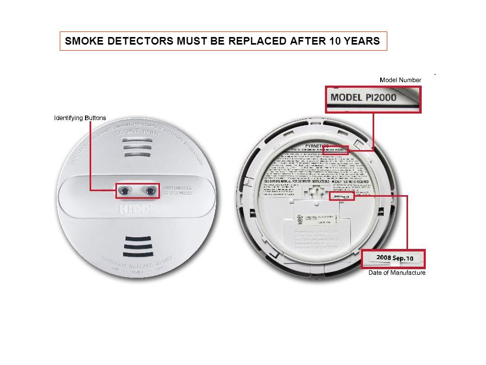 SMOKE DETECTORS MUST BE REPLACED AFTER 10 YEARS
