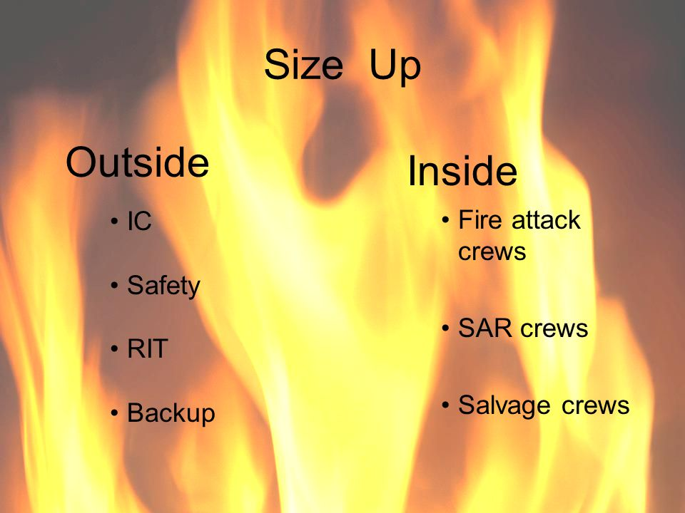 Size Up Outside Inside Fire attack crews IC Safety SAR crews RIT