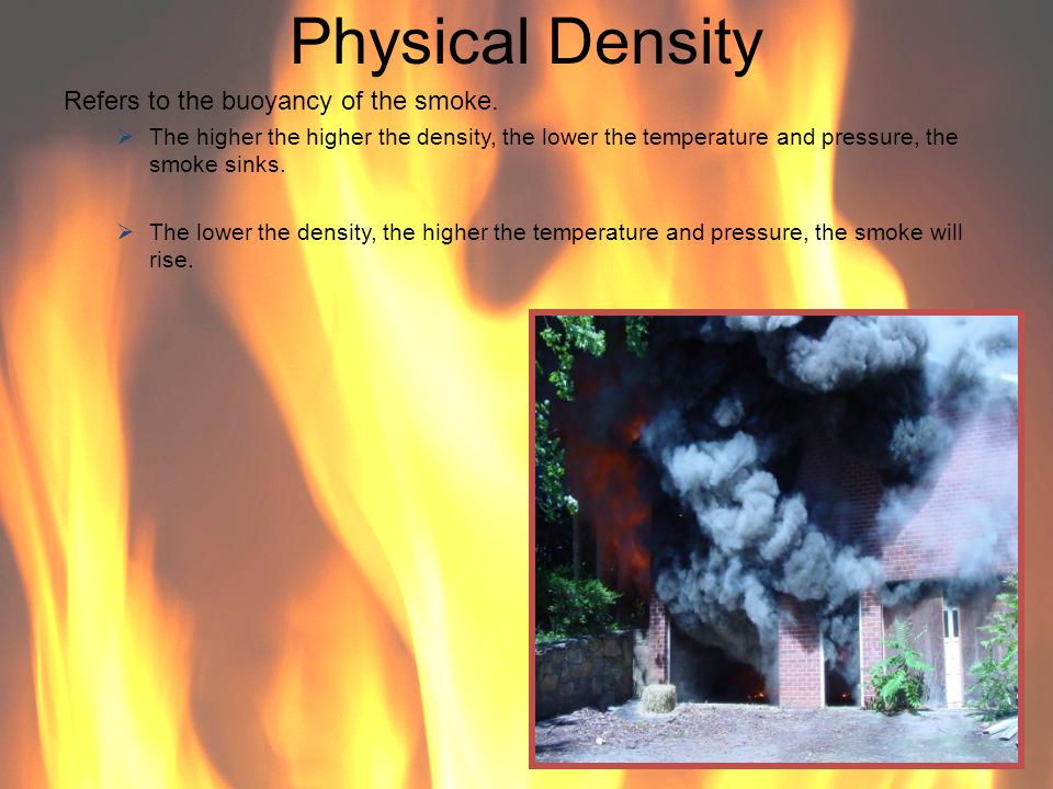 Physical Density Refers to the buoyancy of the smoke.