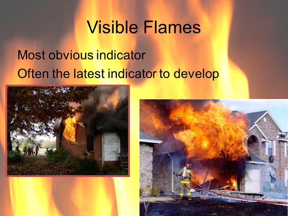 Visible Flames Most obvious indicator