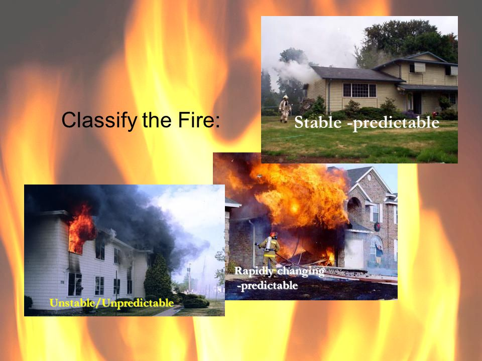 Classify the Fire: Stable -predictable Rapidly changing -predictable