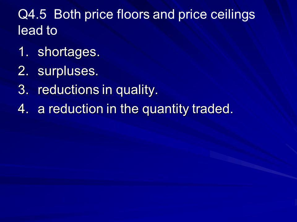 Q4.5 Both price floors and price ceilings lead to