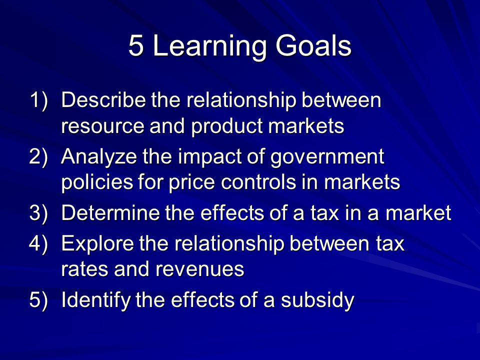 5 Learning Goals Describe the relationship between resource and product markets.