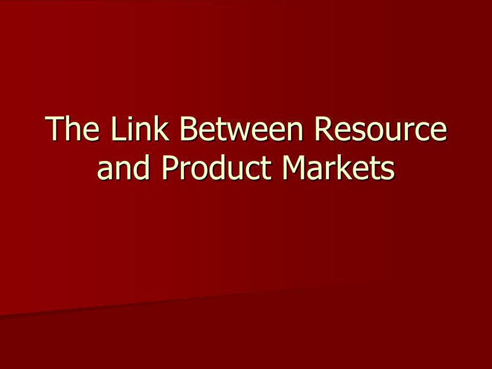 The Link Between Resource and Product Markets