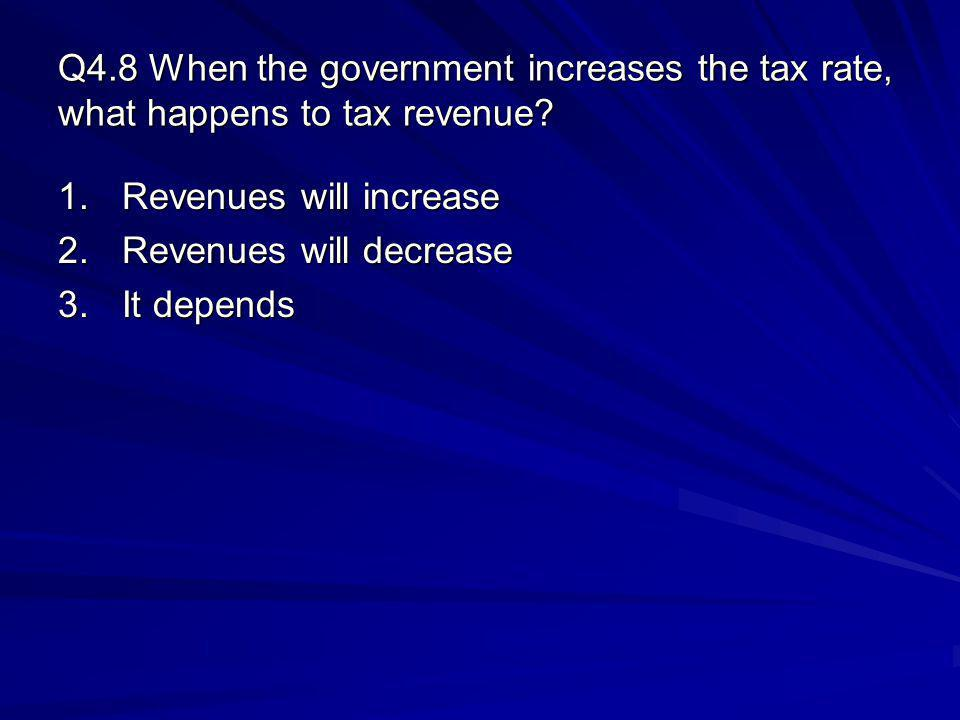 Q4.8 When the government increases the tax rate, what happens to tax revenue