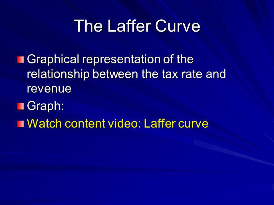 The Laffer Curve Graphical representation of the relationship between the tax rate and revenue. Graph: