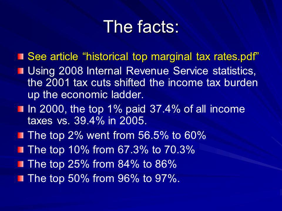 The facts: See article historical top marginal tax rates.pdf