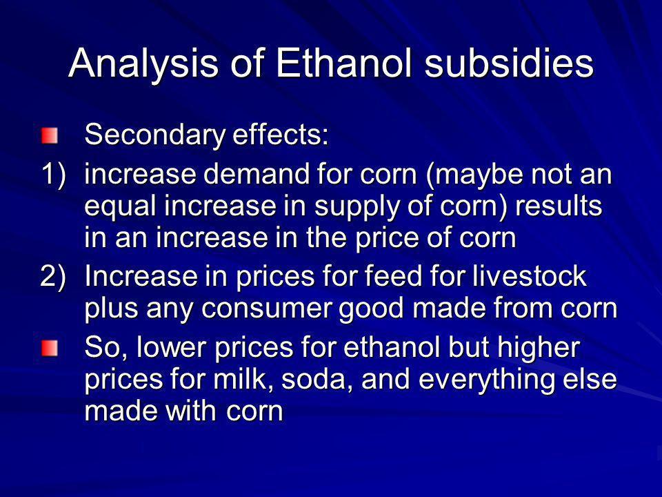 Analysis of Ethanol subsidies