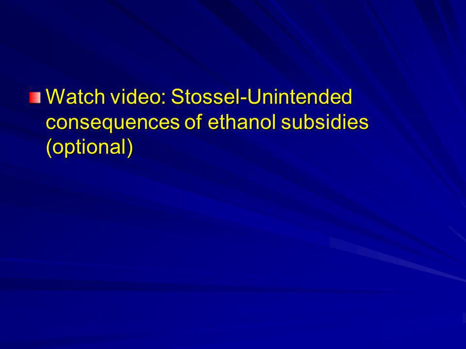 Watch video: Stossel-Unintended consequences of ethanol subsidies (optional)