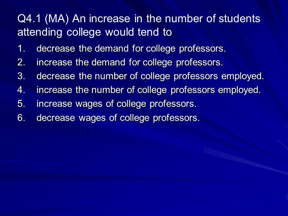 Q4.1 (MA) An increase in the number of students attending college would tend to