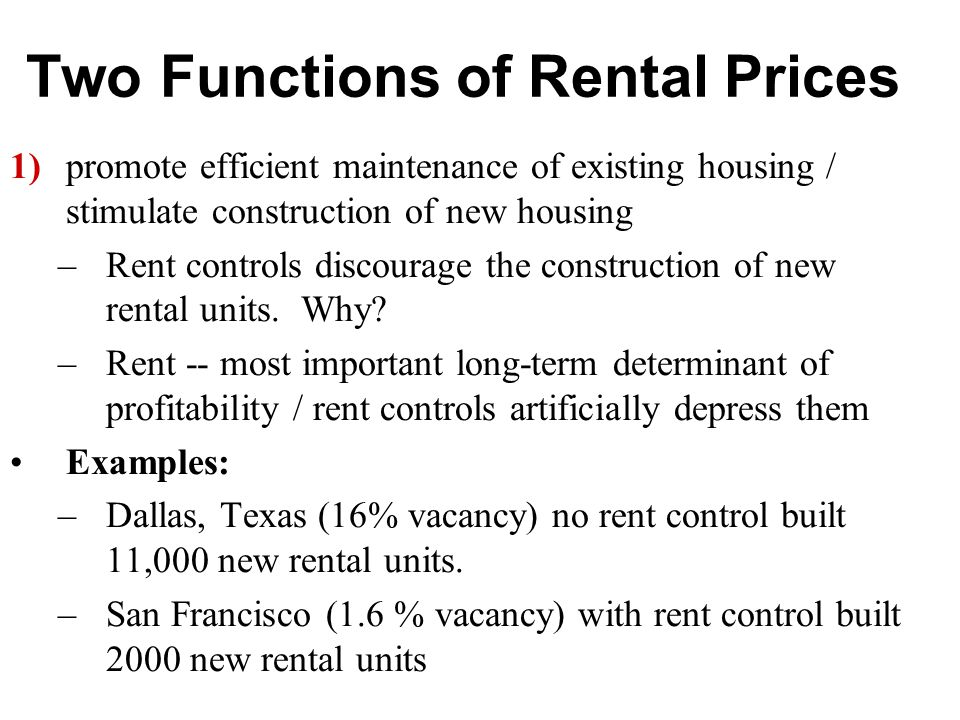 Two Functions of Rental Prices