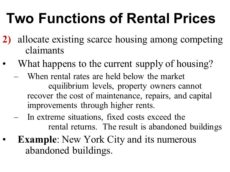Rent Control Who loses in rent control Who gains in rent control