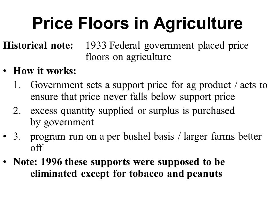 Ag Price Floor Ag. Price supports create surplus Ag product in the market. surplus. P. Q. S. Ag. Surplus.