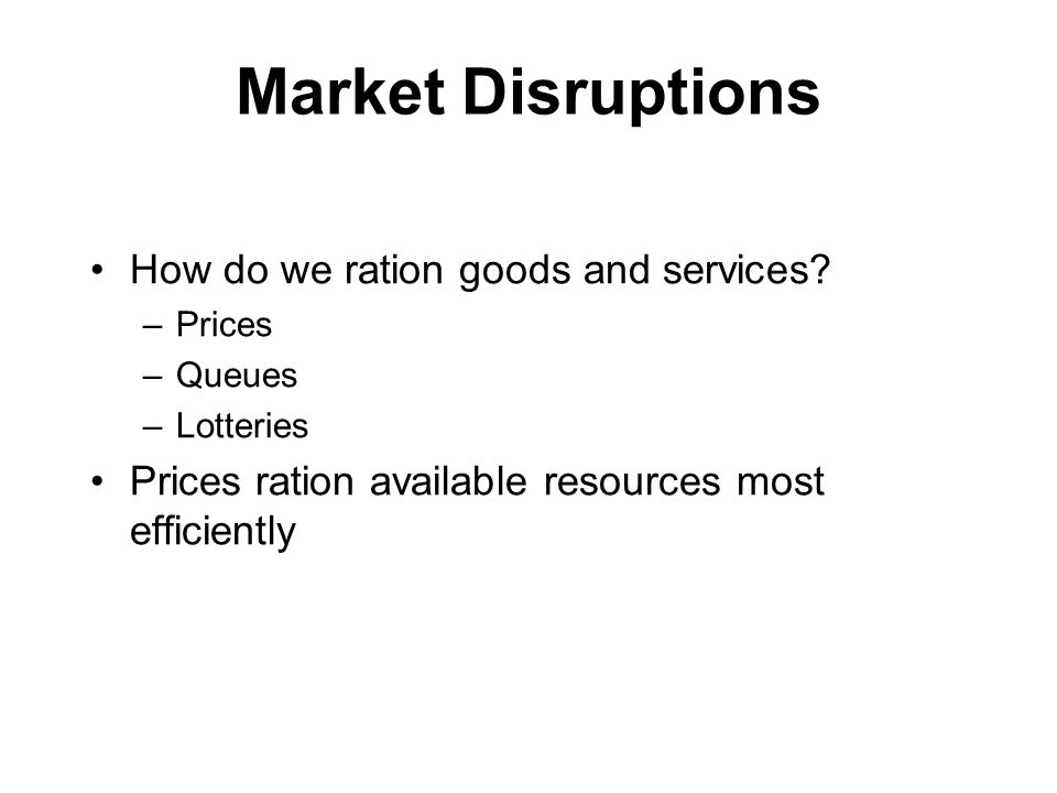 Market Disruptions