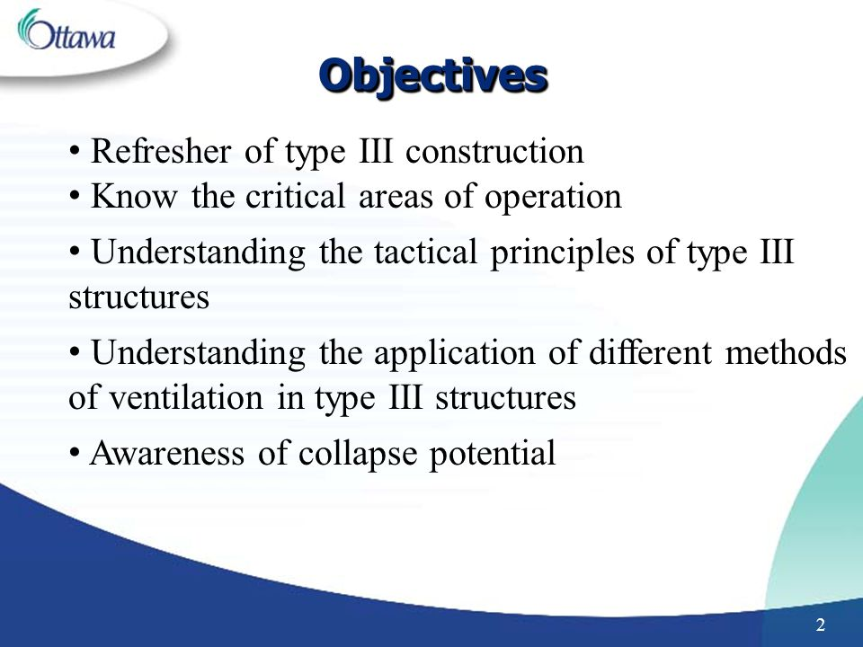 Objectives Refresher of type III construction