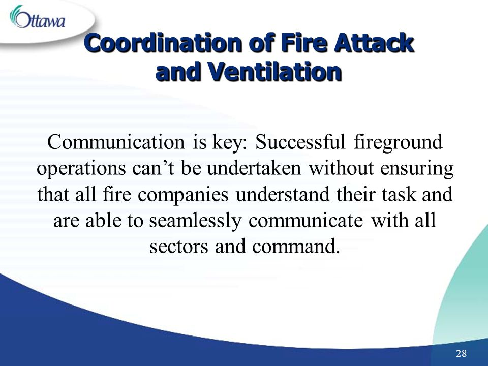 Coordination of Fire Attack and Ventilation