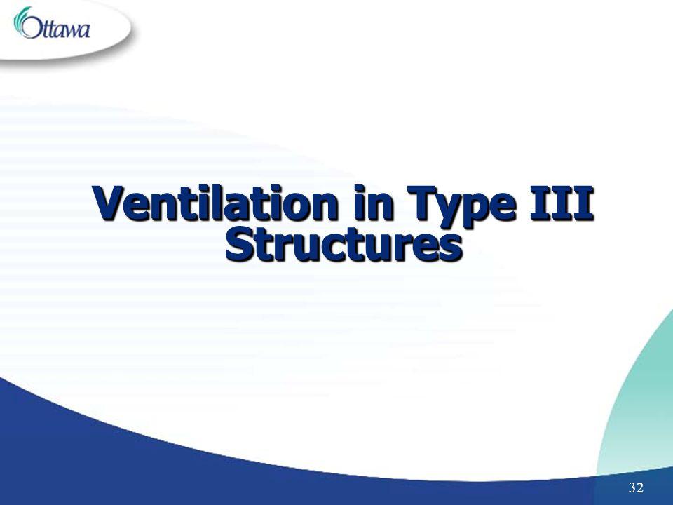 Ventilation in Type III Structures
