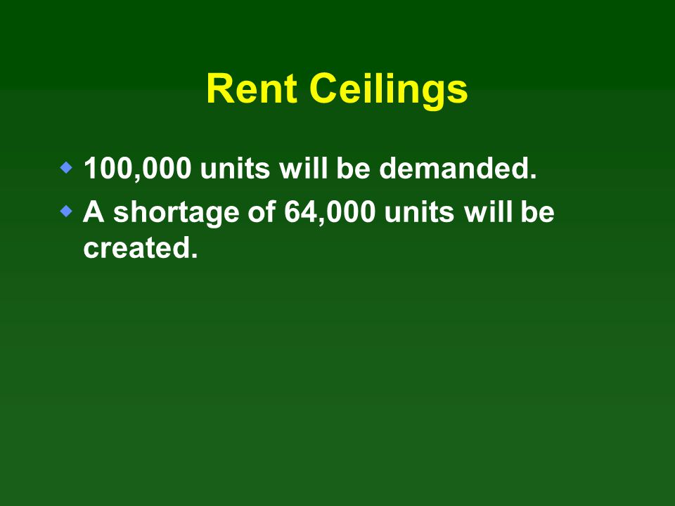 Rent Ceilings 100,000 units will be demanded.