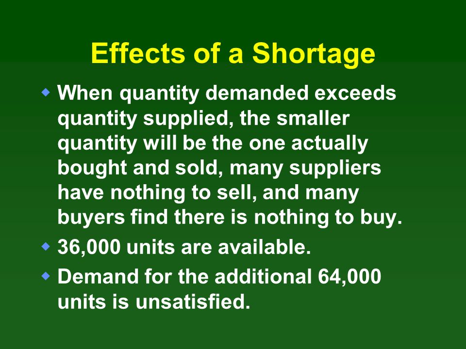 Effects of a Shortage