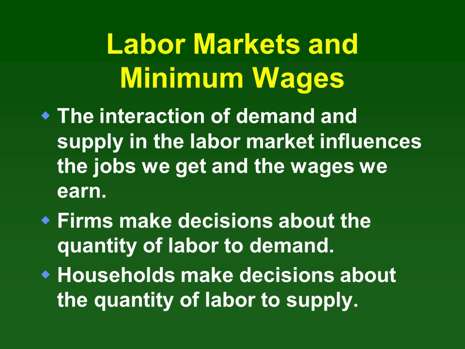 Labor Markets and Minimum Wages