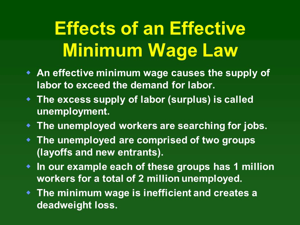 Effects of an Effective Minimum Wage Law