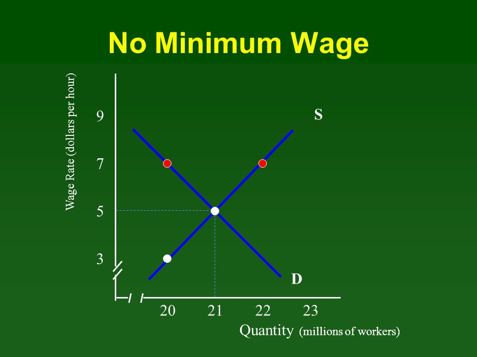 No Minimum Wage S 9 7 5 3 D 20 21 22 23 Quantity (millions of workers)
