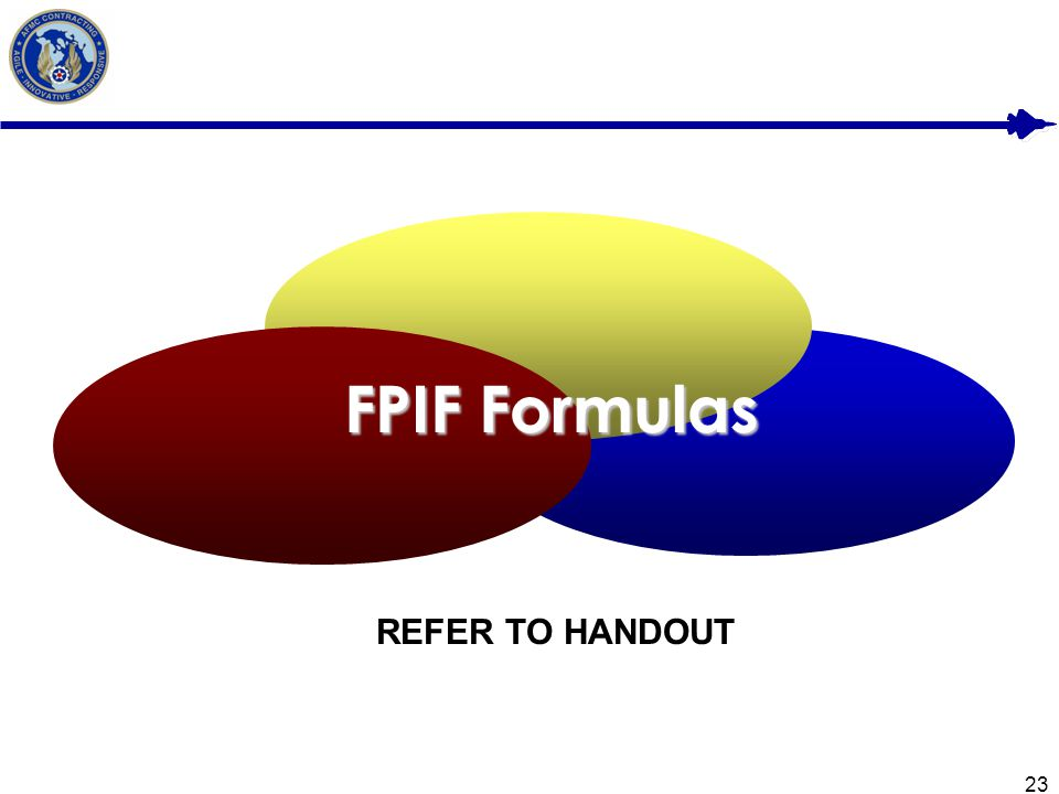 FPIF Formulas REFER TO HANDOUT