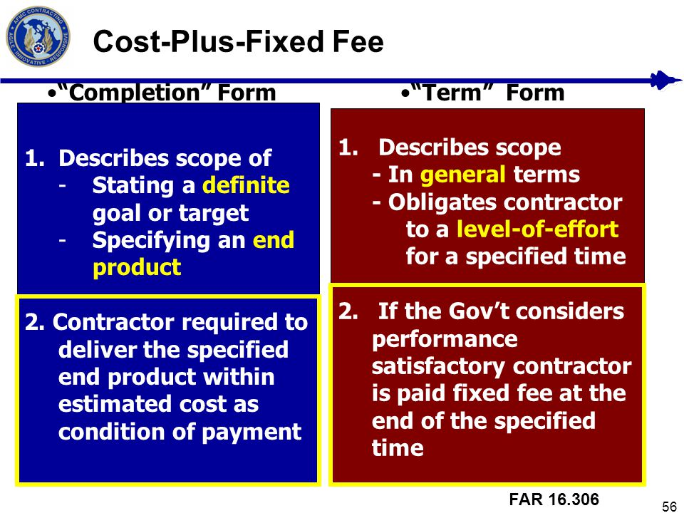 Cost-Plus-Fixed Fee Completion Form Term Form Describes scope of