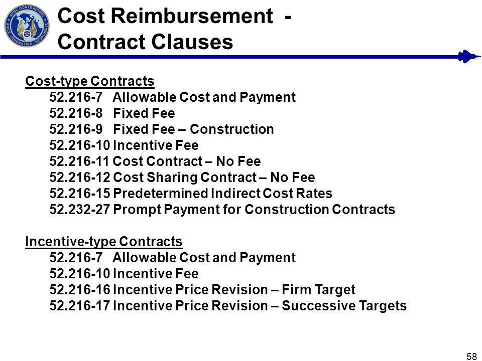 Cost Reimbursement - Contract Clauses