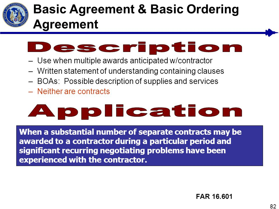 Basic Agreement & Basic Ordering Agreement
