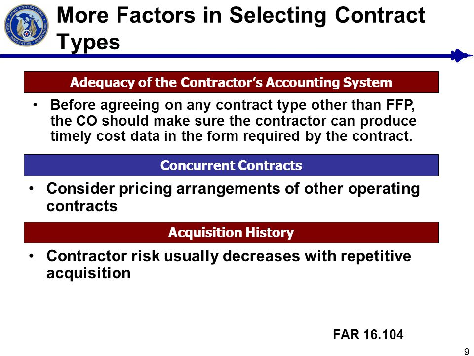 More Factors in Selecting Contract Types