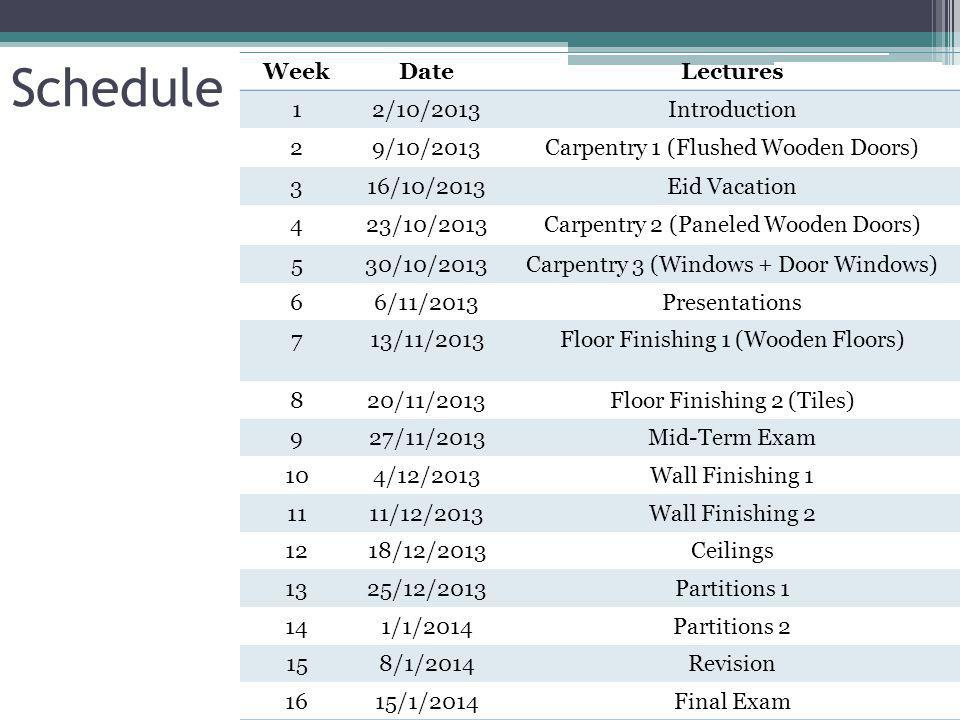 Schedule Lectures Date Week Introduction 2/10/2013 1