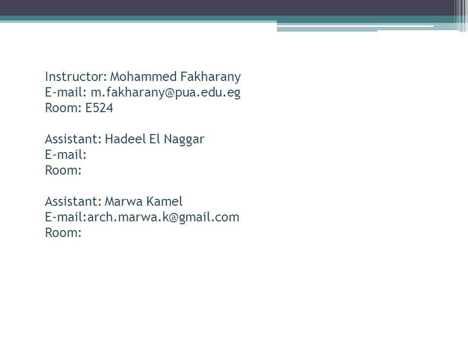 Instructor: Mohammed Fakharany