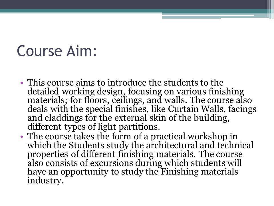 Course Aim: