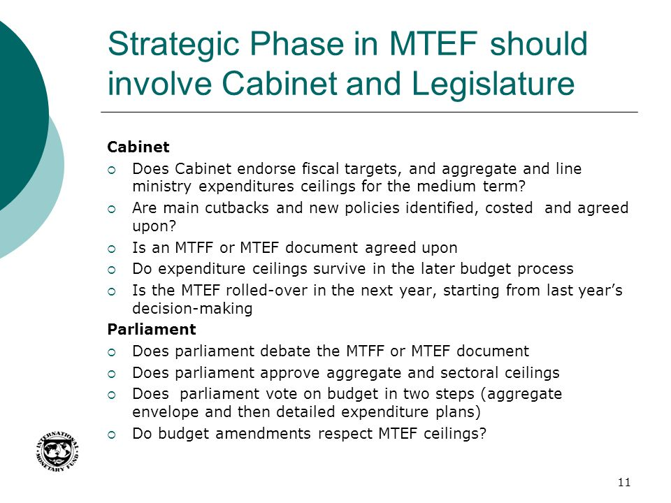 Strategic Phase in MTEF should involve Cabinet and Legislature