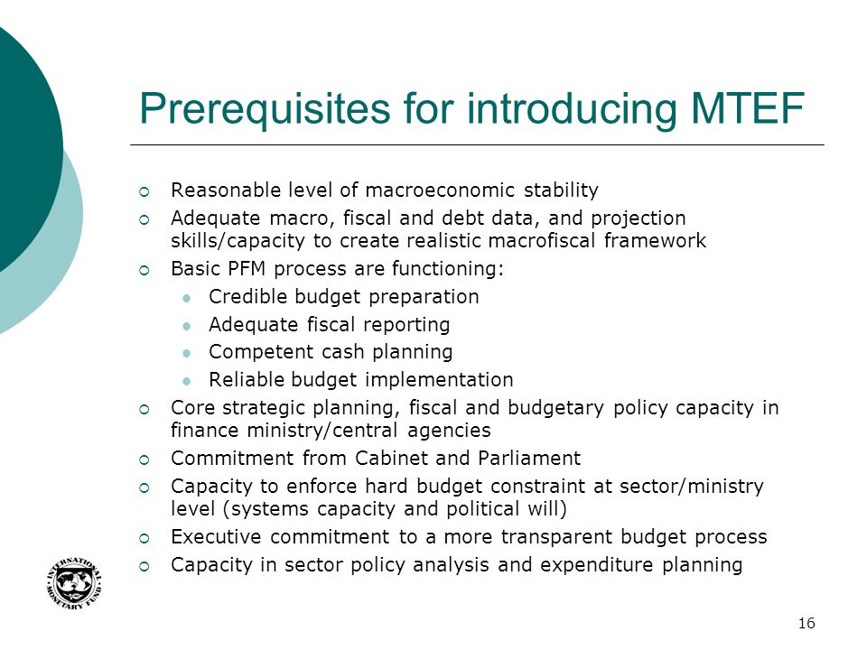 Prerequisites for introducing MTEF