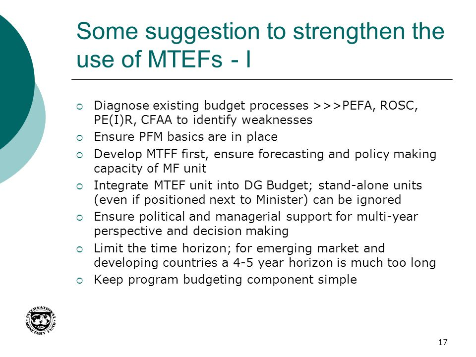 Some suggestion to strengthen the use of MTEFs - I