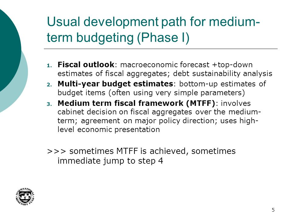 Usual development path for medium-term budgeting (Phase I)